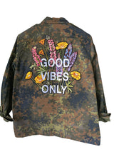 'Good Vibes Only' Embroidered Camo Jacket