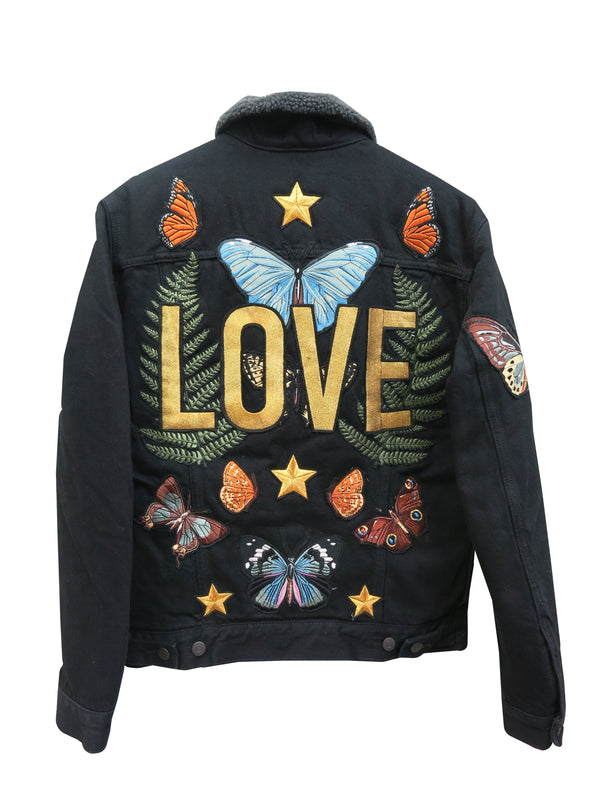 'Love' Butterfly Shearling Embroidered Denim Jacket - M