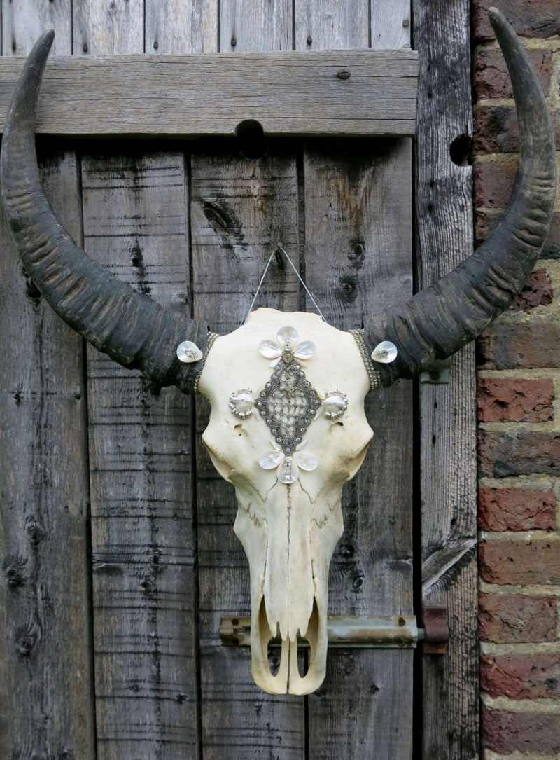 Iridescent Beaded Buffalo Skull