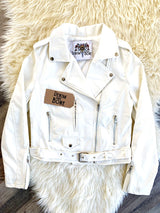 Bohemian Bouquet Vegan Leather Jacket White