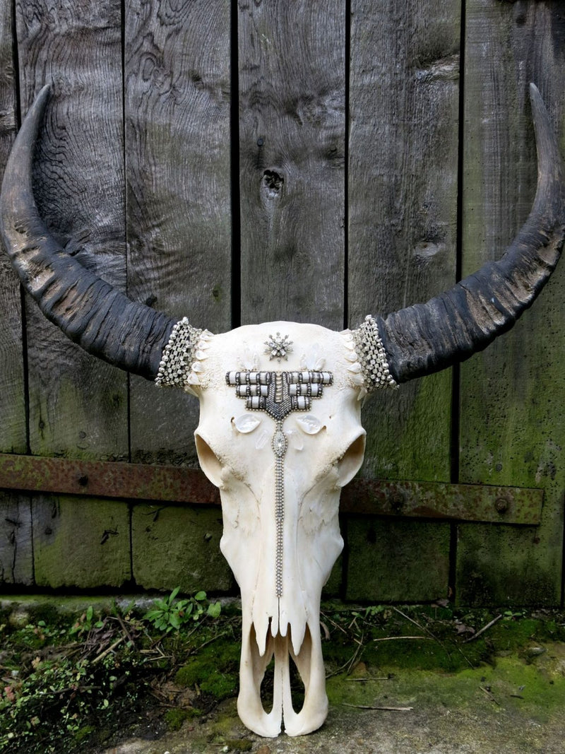 Art Deco Beaded Buffalo Skull