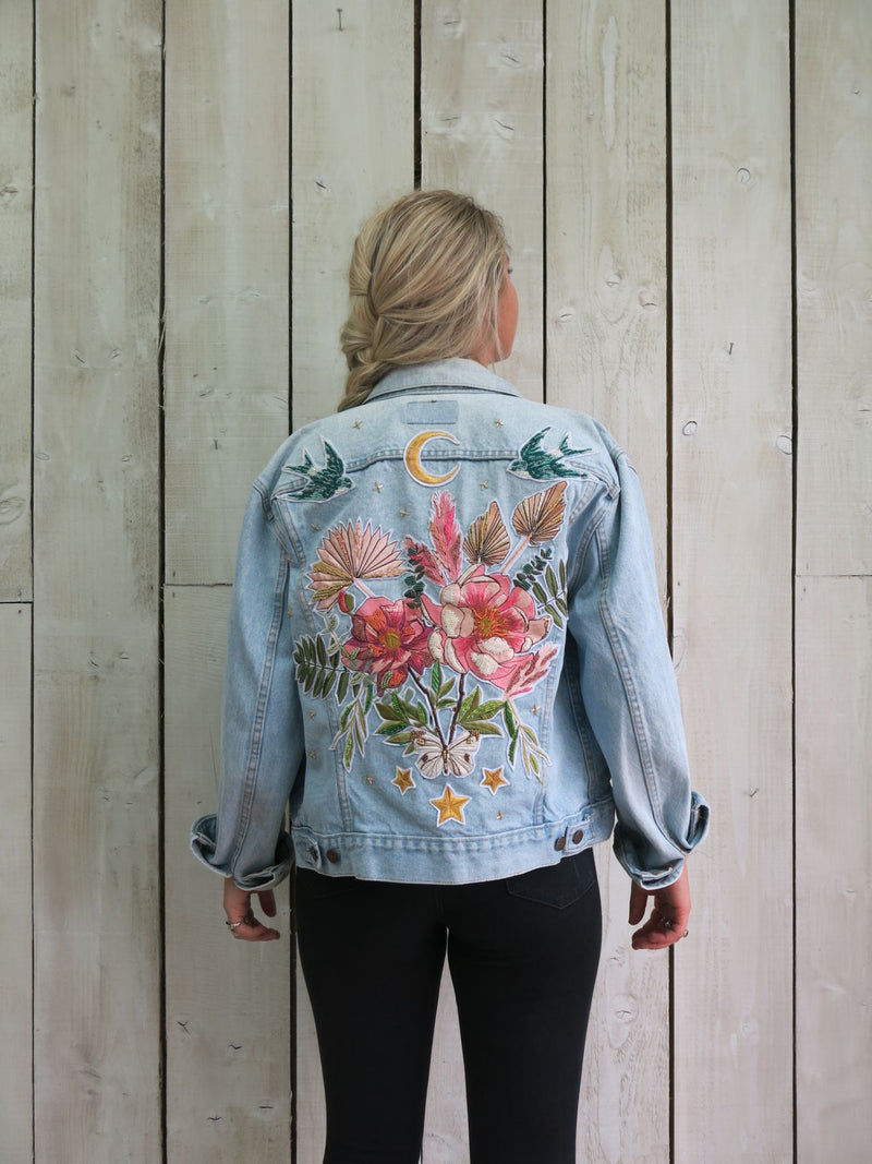'Beaded Bouquet' Embroidered Denim Jacket - M