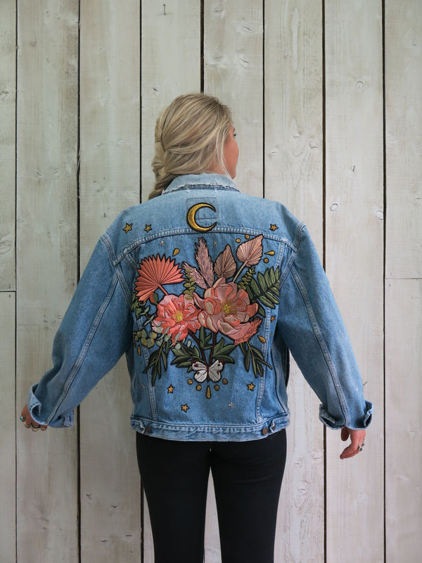 'Boho Bouquet' Embroidered Denim Jacket - M