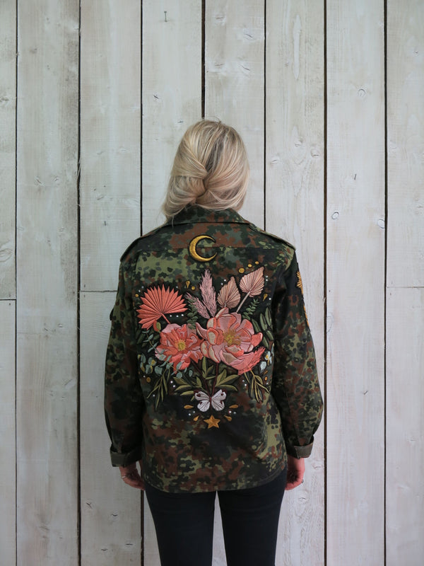'Botanical Bouquet' Embroidered Camo Jacket - M