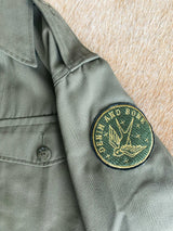 Embroidered Botanical Snake Army Jacket