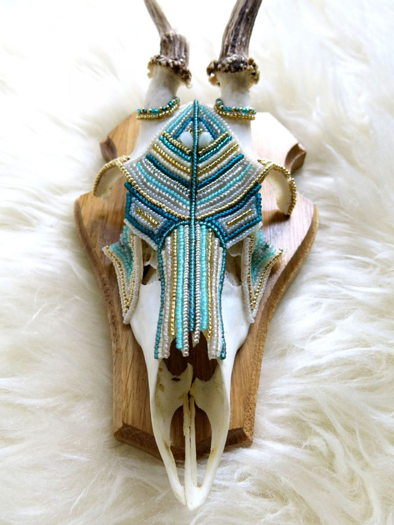 Boho Blue Beaded Roe Deer Skull