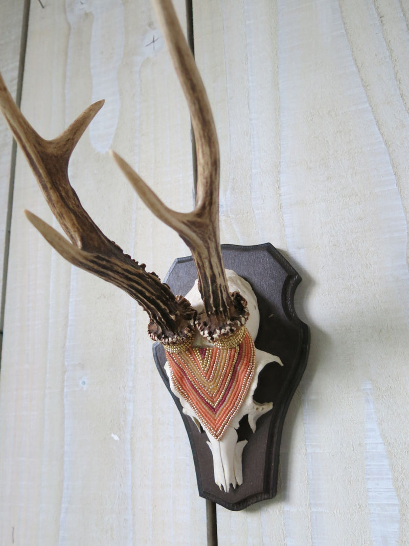 Desert Tone Beaded Roe Deer Skull