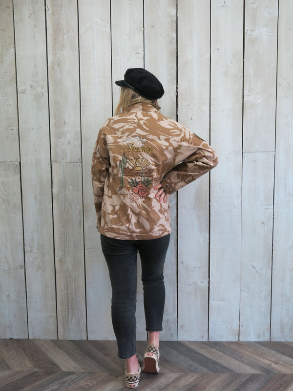 'Dreamer' Embroidered Sand Camo Jacket - S/M