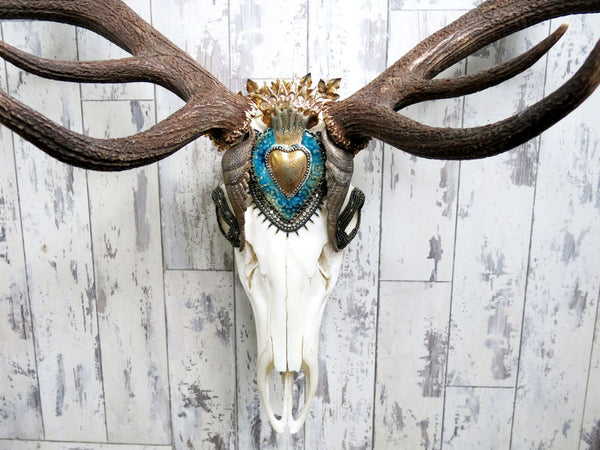 Golden Milagros Beaded Deer Skull