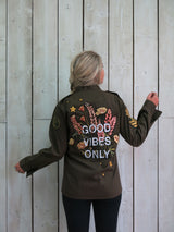 'Good Vibes' Embroidered Floral Khaki Jacket - M