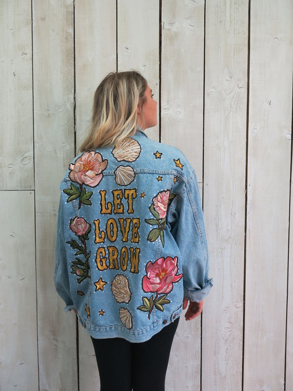 'Let Love Grow' Embroidered Denim Jacket - XL