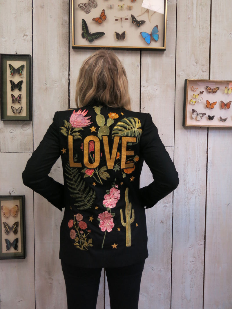 'Love' Embroidered Botanical Blazer - S