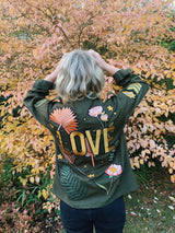 'Love' Embroidered Army Jacket