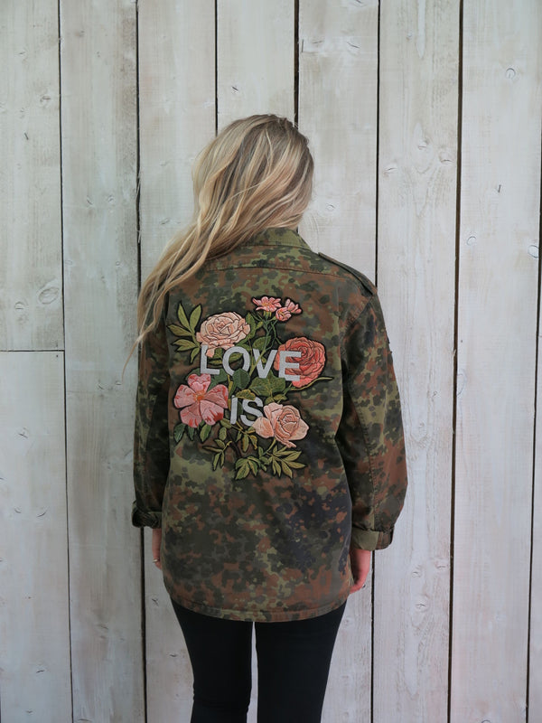 'Love Is' Embroidered Botanical Camo Jacket - M/L