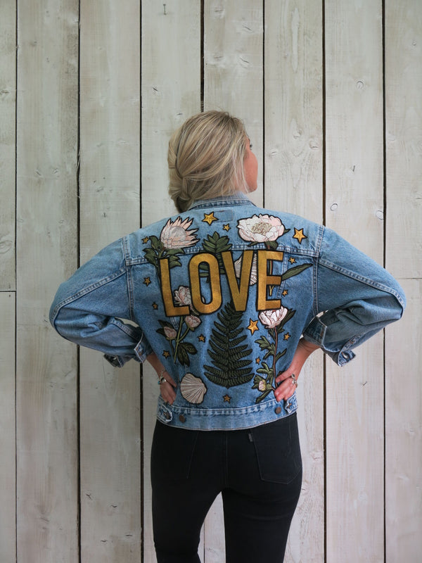'Love' Embroidered Botanical Denim Jacket - S