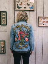 'My Sun My Moon' Embroidered Denim Jacket - M