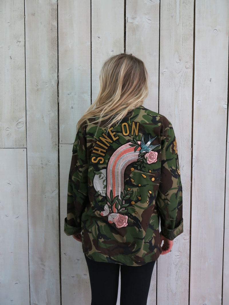 'Shine On' Embroidered Camo Jacket - M/L