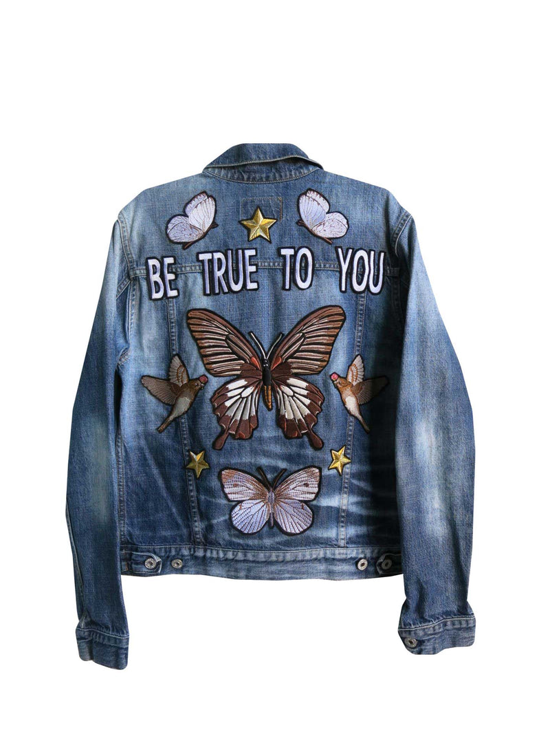 'Be True To You' Embroidered Butterfly Denim Jacket - S