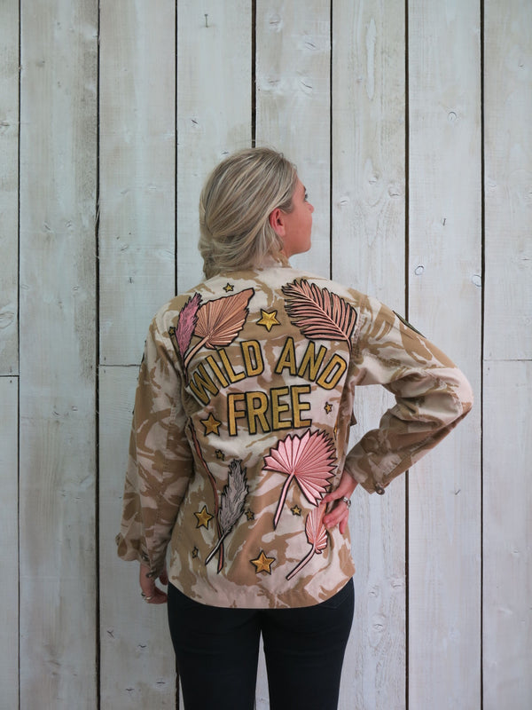 'Wild And Free' Embroidered Boho Botanical Camo Jacket - S