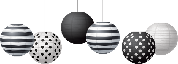 "Black & White 8"" Hanging Paper Lanterns"