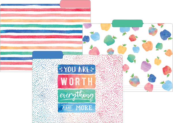 Watercolor File Folders