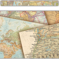 Travel the Map Straight Border Trim