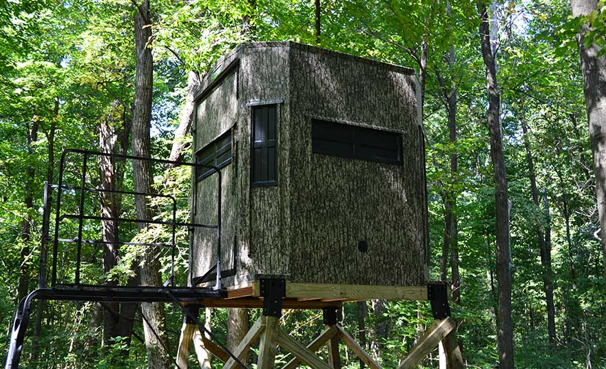 hunting blind in forest