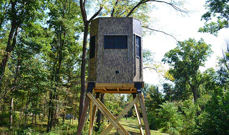 a Shadow Hunter blind in a forest