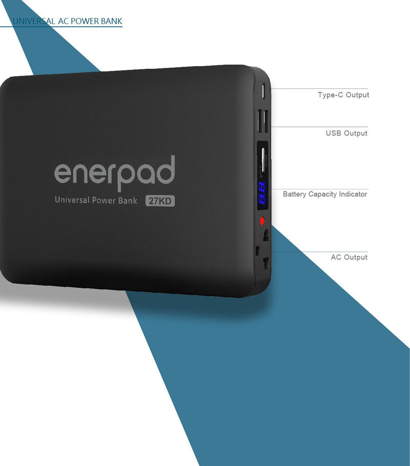Universal AC Portable Power Pack - 27,000 mAh - 100W
