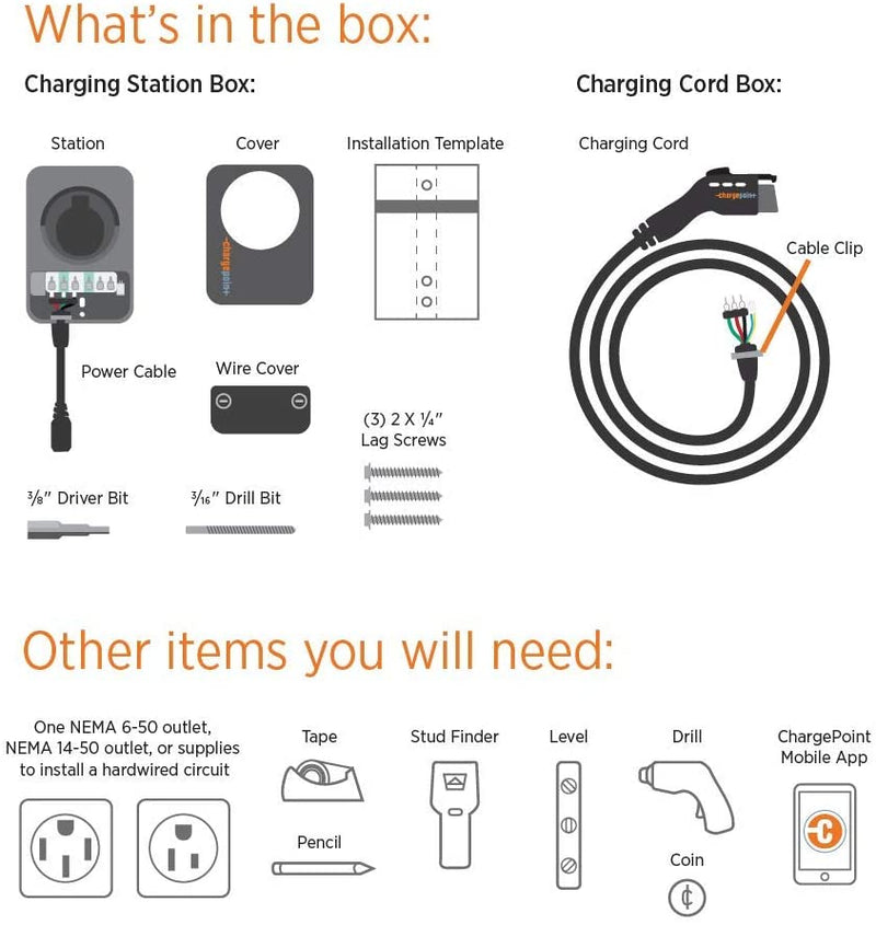 ChargePoint Home Flex Level 2 WiFi EV Charging Station, 16 to 50 Amp, 240V