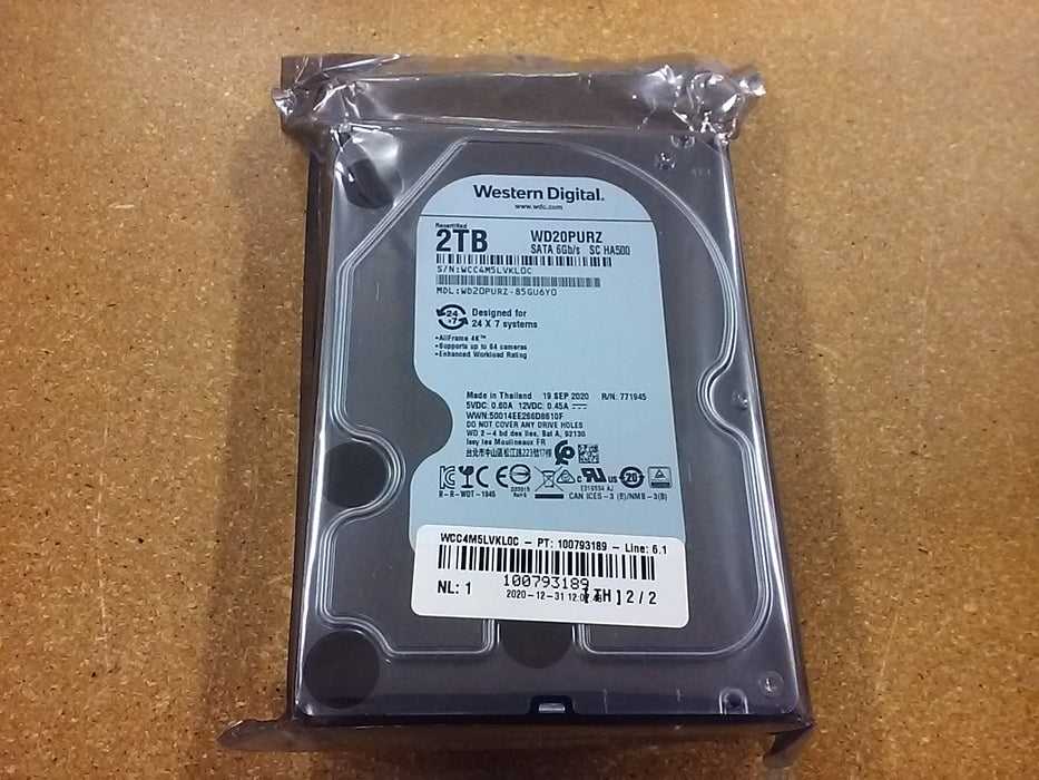 "Western Digital 2TB WD Purple Surveillance Internal Hard Drive - 5400 RPM Class, SATA 6 Gb/s, , 64 MB Cache, 3.5"" - WD20PURZ"