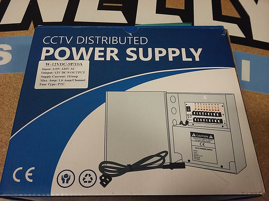 9 Port 12V DC Security Camera Power Supply Distribution Panel Box - 10 Amps Total