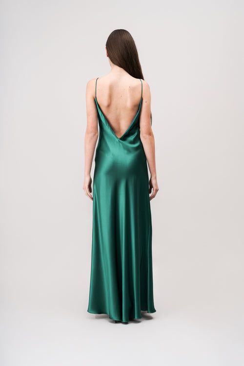MALENE Satin-Maxikleid