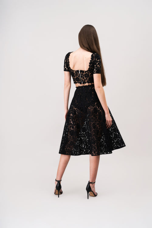 LEAH A-line sheer lace skirt