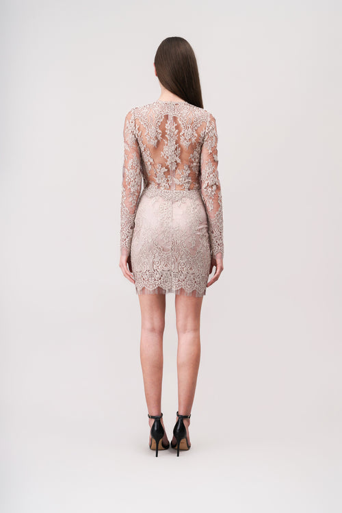PEARL Sheer mini lace dress