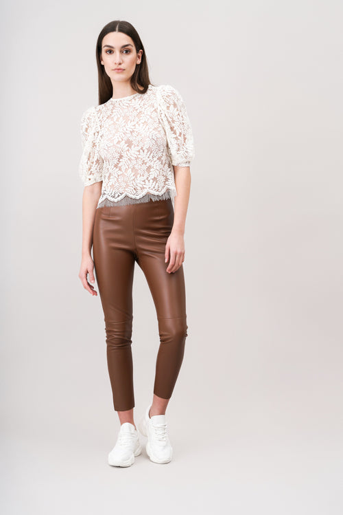 ROMI Lace top with puff sleeves