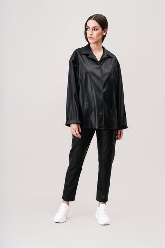 RUBY faux-leather shirt