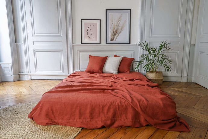 drap plat en lin coloris terracotta