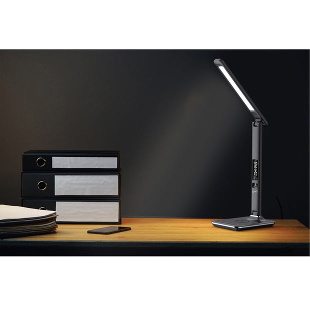 LED Desk Lamp with Qi Wireless Charger Display Alarm Clock, Calendar, & Temperature