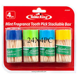 Table King Toothpick Mint Fragrance 150ct X 4pk Wholesale, (24 - Pack)