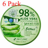 Korea 98% Pure ALOE VERA SOOTHING & MOISTURE GEL Paraben FREE 3W CLINIC 6-Pack