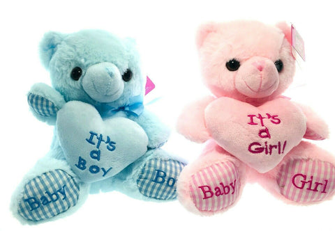 2 Pack Seated Lovey Teddy Bear Patchwork Heart Baby Blue and Pink Plush Anima