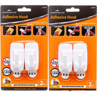 2 Pack Kingman Adhesive White Plastic Hooks Bathroom Kitchen Closet Total 4 Pc