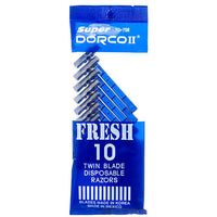 10 PACK OF 10 CT Dorco TD708 Twin Blade Disposable Men's Razors TOTAL 100 CT