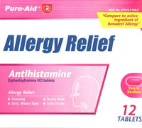 Pure-Aid Medicine Allergy Relief 12 Tablets/Pack (2-Pack) Pharmacy Cheap