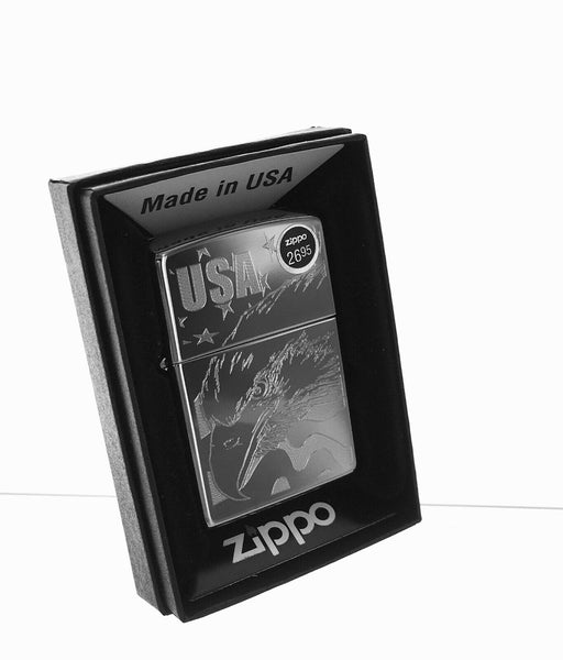 Genuine Zippo Windproof Lighter Eagle and Flag no Color Laser Lettering Pattern