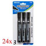 BAZIC Black Chisel Tip Permanent Markers Bright, Vivid Color (3/Pack) 24 Pack