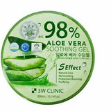 Korea 98% Pure ALOE VERA SOOTHING & MOISTURE GEL Paraben FREE 3W CLINIC 3-Pack