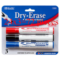 BAZIC Assorted Color Chisel Tip Dry-Erase Markers (3/Pack) Case Pack 24 Total 72