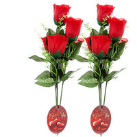 2 Pack Artificial Flower VALENTINE ROSE BUNDLE 6H W/RED & PINK Artificial Flower